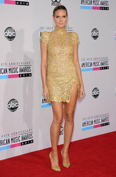 7c54d9b2 Heidi Klum in gold Alexander Vauthier mini dress. Stacy Keibler in a beaded  Collette Dinnigan mini dress.