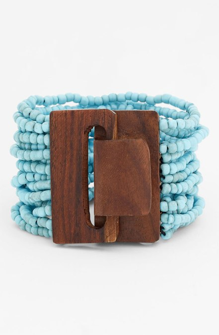 beaded cuff wood closure