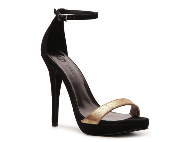 Black And Gold Ankle Strap Heels