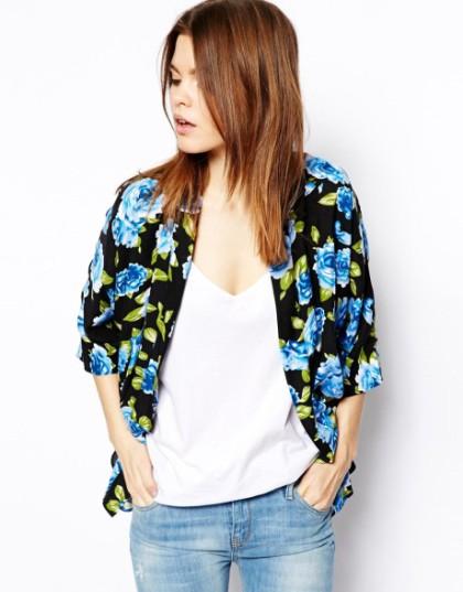 kimono blue rose