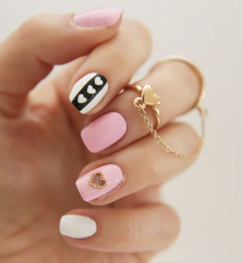Valentine's Day Nails Pink White Black DIY Nail Art Gold Heart Ring Valentine Day Nail Inspiration