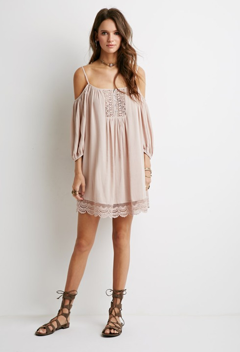 open shoulder dress pink